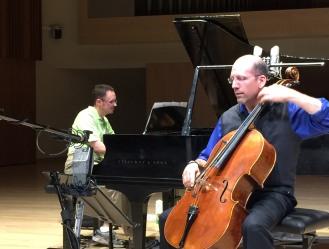 John Haines-Eitzen and pianist Matthew Bengtson in a recent recording session of Roberto Sierra's Sonata # 2